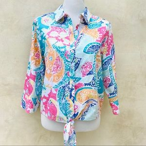 Chico's No-Iron Floral Tie Front Blouse NWOT